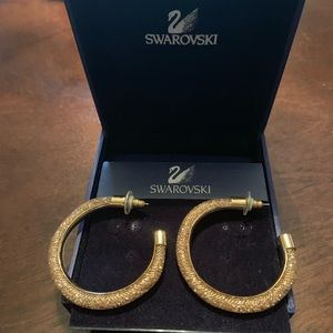 Swarovski Stardust Deluxe Gold Hoop Earrings